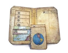 Travel Journal, Atlas Scrapbook, World Map, Geography Gift, Air Mail, Steampunk Compass Journal
