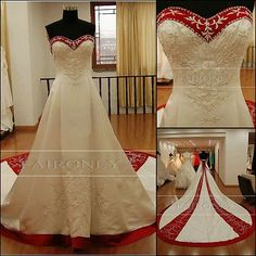 New Custom Wedding Dress Satin Bridal Prom Gown Embroidery Plus Size Colour Comes In