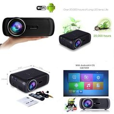 Wifi Online Intelligent 1200lumen Android Home Theater Projector 1080p Full HD #Mileagea