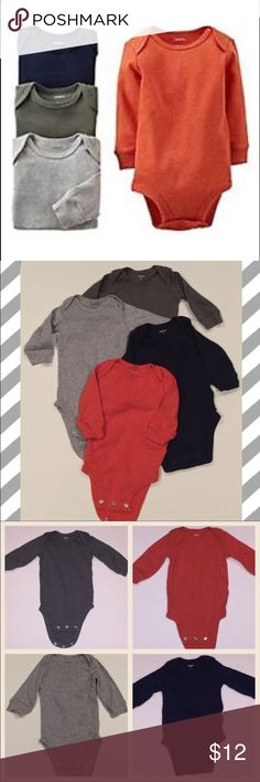 Carter's Set of 4 Long Sleeve Onesies 4 cotton Onesies from Carter's. EUC. Washed only in hypoallergenic dye-free detergent. Long sleeved. Colors are a burnt orange, grey, navy blue and a sage/army green color. Carter's One Pieces Bodysuits