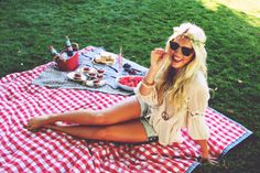 Its July let's relax and have a picnic (I know she sure is relaxing and having a picnic):);):);) I love the 60's hippie style and short shorts (she's happy ,definitely!!!!! :);) :);) :);)