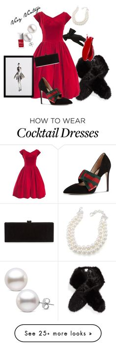 """""""Holiday Ready"""" by pambdillon on Polyvore featuring Sole Society, Edie Parker, Carolee, Gucci, Black, Balmain, Couture Colour and Frontgate"""
