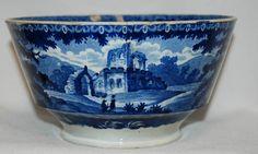 Antique 1830's Historical Dark Blue Staffordshire Bowl - Ruin & Fishing Scenes