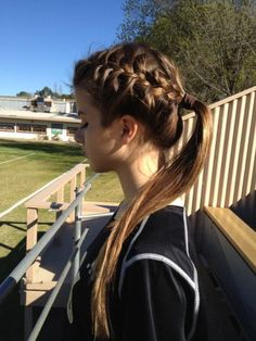 Braid into ponytail. Great for when you have PE
