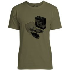 Mintage Early Electric Shaver Mens Fine Jersey T-Shirt (Olive)