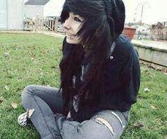 Scene girl black hair