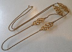 Vintage Monet Signed, Gold Tone Link Necklace. by Bestintreasures on Etsy