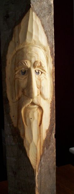 A 150 year old beam from my mother's house, carved into a woodspirit.hand-carved by Elizabeth Brown Wood Carving Designs, Wood Carving Art, Wood Carvings, Elizabeth Brown, Walking Staff, Tree Faces, Block Head, Tree Carving, Whittling