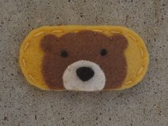 Mini Peek a Boo Honey Bear Wool Felt Hair Clip