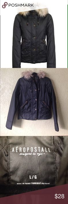 Aeropostale Black Jacket In perfect condition Aeropostale black jacket. Excellent for winter. Size L. No rips or stains. Aeropostale Jackets & Coats
