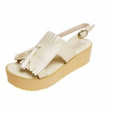 185bd408a AllhqFashion Women s Buckle Open Toe Kitten-Heels PU Solid Flats-Sandals     Click image for more details.