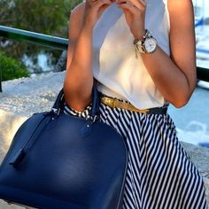 Blue, white & gold summer outfit