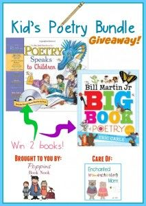Win two amazing poetry books for kiddos, from the Poppins Book Nook via finchnwren.com.  Ends 3/19/15!
