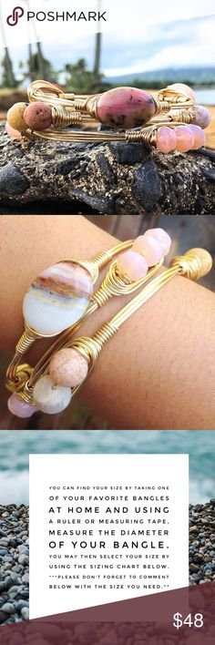 The CHARLOTTE Set Due to the nature of natural stones, each bracelet is unique in it's own way, as no two stones, gem, and or shell's are alike. Bangle is handmade with a tarnish resistant brass wire. PRICE IS FIRM UNLESS BUNDLED. Also, please note that the bracelet you receive may not be exactly as pictured as each bangle is carefully handmade made with love, in Hawaii. If you have any questions, please let me know. Thanks for stopping by! ALOHA! Milolii Love Jewelry Bracelets