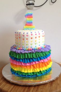 Colorful 1st year old Birthday Cake