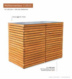 2 x 120 - 240 liter garbage bin wood CUBUS - FSC hardwood oiled natural - wound . Outdoor Storage Sheds, Shed Storage, Storage Bins, Garbage Shed, Garbage Storage, Trash Containers, Trash Bins, Bin Store Garden, Trash Can Covers