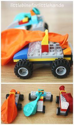 Lego Balloon Car Building Activity Lego Race Cars Kit – blow up the balloon and the car takes off Lego Ballon Car Building Activity Lego Race Cars Kit – blaas de ballon op en de auto stijgt op Lego Balloons, Balloon Cars, Balloon Party Games, Diy Lego, Lego Craft, Lego For Kids, Diy For Kids, Crafts For Kids, Lego Activities