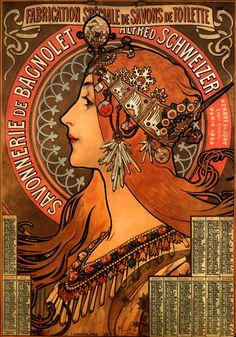 Alphonse Mucha  ...... love these deeper colors in this, although her crown has a snowflake in it and her earrings are crystals, she looks very autumn...