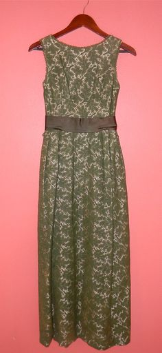 Vintage Dress 60s 70s Green Lace Cream by PinkCheetahVintage, $44.29