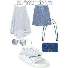 summer denim by bryrinka on Polyvore featuring polyvore fashion style Zara Topshop Senso adidas Ray-Ban