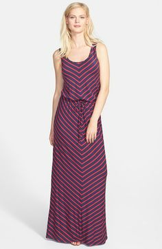 Caslon® Drawstring Waist Maxi Dress (Regular & Petite) available at #Nordstrom