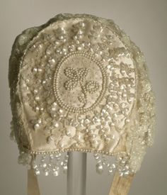 ~Woman's bonnet (back view) | United States, 1880's | Materials: silk satin, glass beads | Los Angeles County Museum of Art, LACMA~