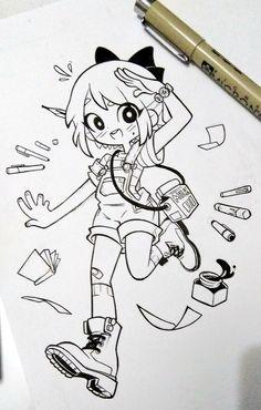Art by Dandh Art Drawings Sketches Simple, Kawaii Drawings, Cartoon Drawings, Cute Drawings, Drawing Faces, Drawing Tips, Cute Art Styles, Cartoon Art Styles, Cartoon Ideas