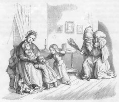 Knecht Ruptecht. In German folklore he he comes to your home on St Nicholas day and asks children if they can pray. If they can, they get apples or sweets. If they can not, he beats them with his sack of ashes.