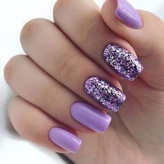 False nails have the advantage of offering a manicure worthy of the most advanced backstage and to hold longer than a simple nail polish. The problem is how to remove them without damaging your nails. Square Nail Designs, Best Nail Art Designs, Glitter Nail Designs, Summer Nail Designs, Lilac Nails Design, Popular Nail Designs, Purple Nail Designs, Fancy Nails, Trendy Nails