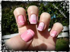 Pink EKG Heart Manicure by Sugar Bubbles