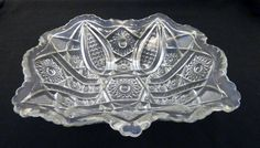 Indiana Glass Paneled Daisy & Fine Cut Rectangular Salad Serving Bowl…