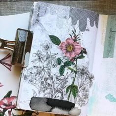 This stated out all black and white (with a Gelli plate ghost print as the background/starting point), but i felt like it needed a pop of color, so I added the vintage flower illustration (with a little collage magic to make it taller.) I hope you're having a creative weekend, friends!