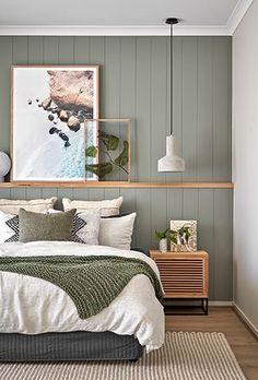 Bedroom Green, Room Ideas Bedroom, Home Decor Bedroom, Modern Bedroom, Green Bedroom Design, Bedroom Vintage, Minimalist Bedroom, Bedroom Styles, Home Interior Design