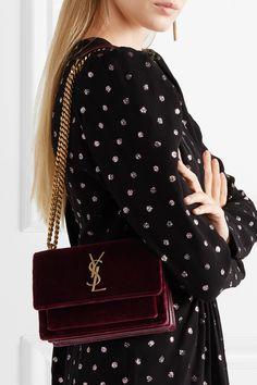 Burgundy Sunset small velvet shoulder bag | SAINT LAURENT | NET-A-PORTER Burberry Handbags, Chanel Handbags, Purses And Handbags, Yves Saint Laurent, Saint Laurent Dress, Fendi, Gucci, Ysl Bag, Chanel Boy Bag
