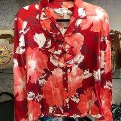 St. John Sport by Marie Gray Tops | St John Collection Red Floral Silk Ruffle Top | Poshmark Ruffle Top, Grey Top, Blossoms, Colorful Shirts, Floral Tops, Button Down Shirt, Stripes, Silk, Sport