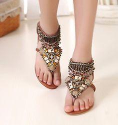 1c68198e683db9 Women Summer New Bohemia Beads Slipper Flip Flops Flat Sandals Beach Thong  Shoes