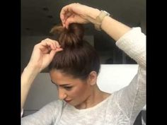Easy messy bun hairstyle by Sarah Chintomby.angius - YouTube