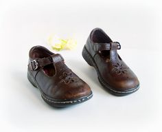Vintage Buster Browns Mary Jane Sandal type shoe, Brown Leather, child little girl size 11, age 4  preschool quality shoes, velcro NICE 80s on Etsy, $15.00