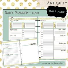 US Half Page: Printable Perpetual Work Daily Planner  #dailyplanner, #printable, #myunclutteredlife, #etsy