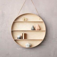 Bedroom | Ferm Living: The Round Dorm hylla - Ø 55 cm. This next to a round mirror!!