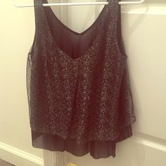 Black and silver sheer top Black and silver sheer top from Express Express Tops Tank Tops
