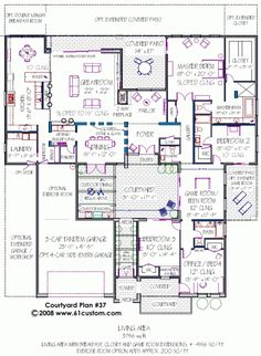 ♥♥♥ House Plan with Courtyard ♥♥♥ too big. But if I could shrink the number of rooms without losing the layout structure & flow, this would be heaven.