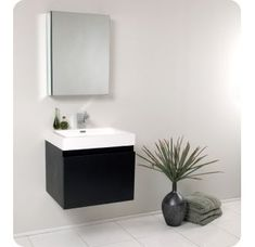 Best discount top rated Senza 24 Single Nano Modern Bathroom Vanity Set with Mirror Bathroom Sink Cabinets, Bathroom Mirror Cabinet, Sink Countertop, Mirror Cabinets, Vanity Cabinet, Bathroom Furniture, Bathroom Storage, Bathroom Organization, Mirror Furniture