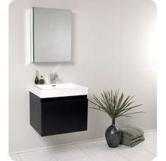 Best discount top rated Senza 24 Single Nano Modern Bathroom Vanity Set with Mirror Bathroom Mirror Cabinet, Single Bathroom Vanity, Modern Bathroom, Black Bathroom, Amazing Bathrooms, Bathroom Sink Cabinets, Modern Bathroom Vanity, Acrylic Sinks, Black Vanity Bathroom