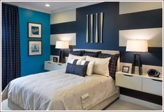 47 Really Fun Sports Themed Bedroom Ideas Home Remodeling for size 1170 X 770 Blue Themed Bedroom Ideas - Just about all bedrooms function like a living Boys Bedroom Colors, Bedroom Paint Colors, Boys Room Decor, Bedroom Themes, Bedroom Decor, Boy Room, Bedroom Ideas, Bedroom Boys, Striped Accent Walls