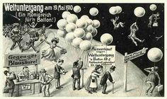 End of the world surrealism scene - antique postcard 1910 vintage amazing halley comet memory balloon space moon stars sky ephemera End Of The World, Halley's Comet, Paris 1900, Photo Vintage, Star Sky, Illustration, Ballon, Reference Images, Day For Night