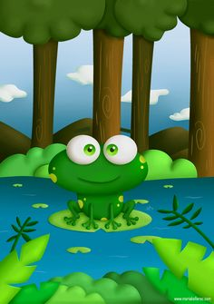 Frog illustration for kids