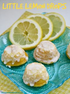 Little Lemon Drop Glazed Mini Cupcakes are delicious bite-sized treats that start with a lemon cake mix! The easy lemon glaze soaks into the inverted mini cupcakes and is a simple, incredibly delicious lemon cake mix recipe! Mini Desserts, Lemon Desserts, Lemon Recipes, Sweet Recipes, Cake Recipes, Dessert Recipes, Lemon Cakes, Coconut Cakes, Lemon Frosting