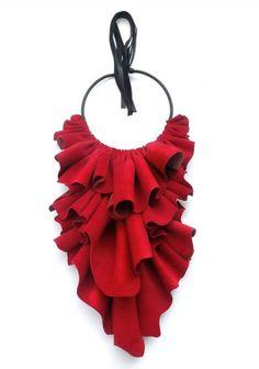 "Giulia Boccafogli Jabot necklace ""La Rouge"" - made of fine Italian leather; 160,-€"