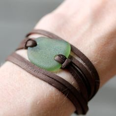 This is a simple sea glass and leather wrap bracelet that could also be worn as a necklace. It has a true effortless, bohemian feel. The sea Jewelry Crafts, Handmade Jewelry, Sea Glass Crafts, Tin Gifts, Bijoux Diy, Sea Glass Jewelry, Leather Jewelry, Jewelry Making, Jewelry Box